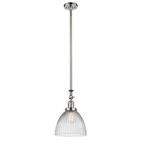 Seneca Falls Polished Nickel LED Mini Pendant with Clear Dome Glass