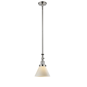 Large Cone Polished Nickel 14-Inch LED Mini Pendant with Matte White Cased Cone Glass