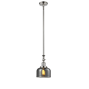 Large Bell Polished Nickel 14-Inch LED Mini Pendant with Smoked Dome Glass