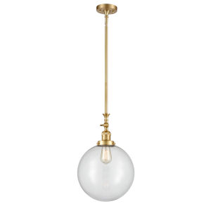 Franklin Restoration Satin Gold 12-Inch One-Light Pendant with Clear Beacon Shade and Wire