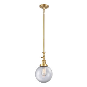 Franklin Restoration Satin Gold Eight-Inch LED Mini Pendant with Clear Beacon Shade and Wire