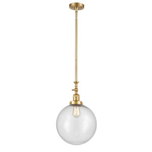 Franklin Restoration Satin Gold 12-Inch LED Pendant with Seedy Beacon Shade and Wire