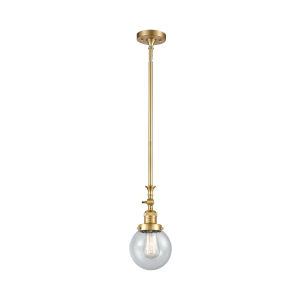 Franklin Restoration Satin Gold Six-Inch LED Mini Pendant with Seedy Beacon Shade and Wire