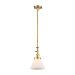 Franklin Restoration Satin Gold Eight-Inch One-Light Mini Pendant with Matte White Cased Large Cone Shade and Wire