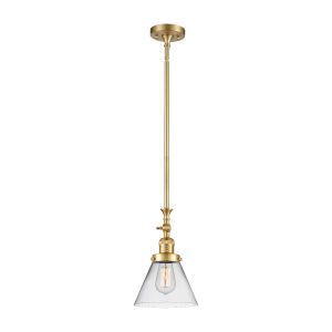 Franklin Restoration Satin Gold Eight-Inch LED Mini Pendant with Clear Large Cone Shade and Wire