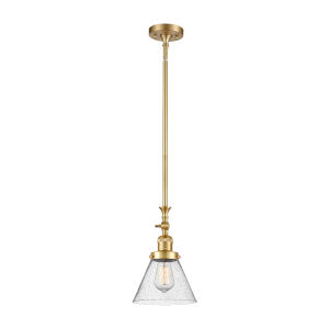 Franklin Restoration Satin Gold Eight-Inch LED Mini Pendant with Seedy Large Cone Shade and Wire