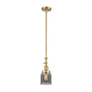 Franklin Restoration Satin Gold Five-Inch One-Light Mini Pendant with Plated Smoke Small Bell Shade and Wire