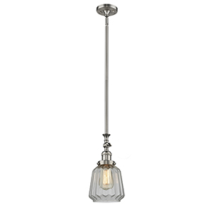 Chatham Brushed Satin Nickel 14-Inch LED Mini Pendant with Clear Fluted Novelty Glass