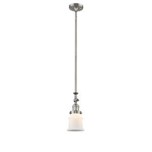 Franklin Restoration Brushed Satin Nickel Seven-Inch One-Light Mini Pendant with Matte White Canton Shade and Wire