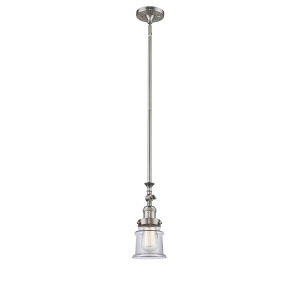 Franklin Restoration Brushed Satin Nickel Seven-Inch LED Mini Pendant with Clear Canton Shade and Wire