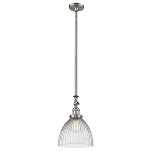 Seneca Falls Brushed Satin Nickel One-Light Mini Pendant with Clear Dome Glass