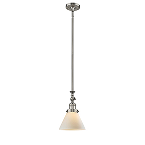Large Cone Brushed Satin Nickel 14-Inch LED Mini Pendant with Matte White Cased Cone Glass