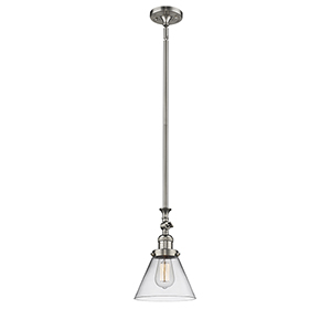 Large Cone Brushed Satin Nickel 14-Inch One-Light Mini Pendant with Clear Cone Glass