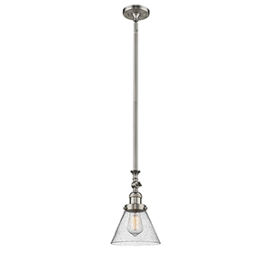 Large Cone Brushed Satin Nickel 14-Inch LED Mini Pendant with Seedy Cone Glass
