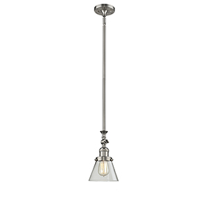Small Cone Brushed Satin Nickel 14-Inch LED Mini Pendant with Clear Cone Glass