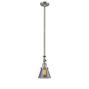 Small Cone Brushed Satin Nickel 14-Inch One-Light Mini Pendant with Smoked Cone Glass
