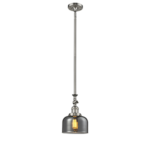 Large Bell Brushed Satin Nickel 14-Inch One-Light Mini Pendant with Smoked Dome Glass
