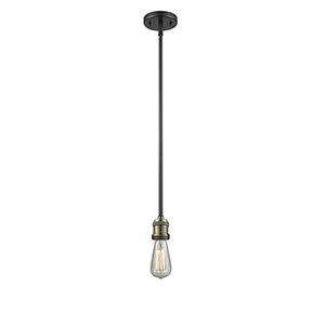 Bare Bulb Black Antique Brass Four-Inch One-Light Mini Pendant