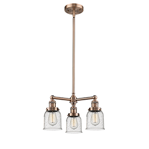 Small Bell Antique Copper Three-Light Chandelier with Seedy Bell Glass