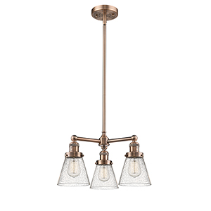 Small Cone Antique Copper Three-Light Chandelier with Seedy Cone Glass