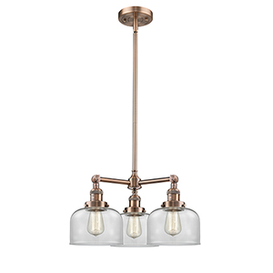 Large Bell Antique Copper Three-Light LED Chandelier with Clear Dome Glass