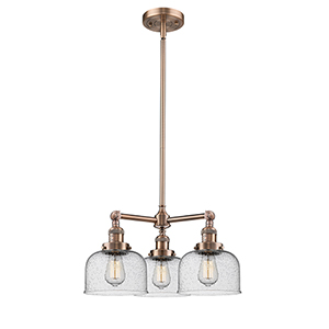 Large Bell Antique Copper Three-Light LED Chandelier with Seedy Dome Glass