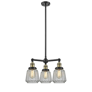 Chatham Black Antique Brass Three-Light Chandelier with Clear Fluted Novelty Glass