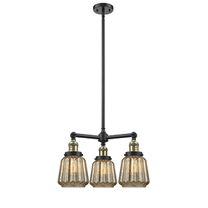 Chatham Black Antique Brass Three-Light Chandelier with Mercury Fluted Novelty Glass