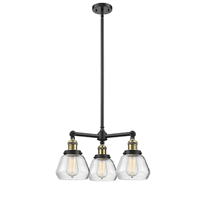 Fulton Black Antique Brass Three-Light Chandelier with Clear Sphere Glass