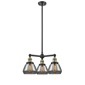 Fulton Black Antique Brass Three-Light Chandelier with Smoked Sphere Glass