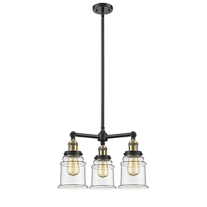 Canton Black Antique Brass Three-Light Chandelier with Clear Bell Glass