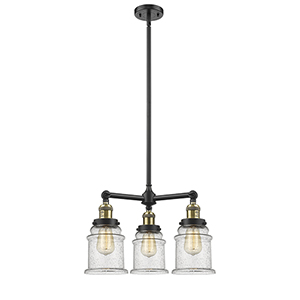 Canton Black Antique Brass Three-Light Chandelier with Seedy Bell Glass