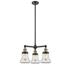 Bellmont Black Antique Brass Three-Light Chandelier with Clear Hourglass Glass