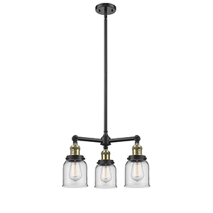 Small Bell Black Antique Brass Three-Light Chandelier with Clear Bell Glass