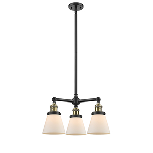 Small Cone Black Antique Brass Three-Light LED Chandelier with Matte White Cased Cone Glass