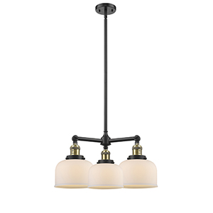 Large Bell Black Antique Brass Three-Light LED Chandelier with Matte White Cased Dome Glass