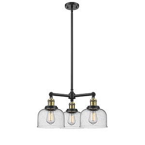 Large Bell Black Antique Brass Three-Light Chandelier with Seedy Dome Glass