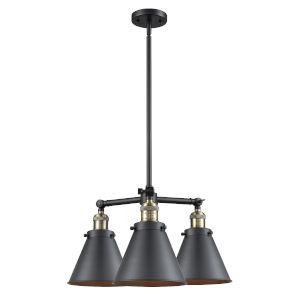 Franklin Restoration Matte Black Antique Brass Three-Light LED Chandelier