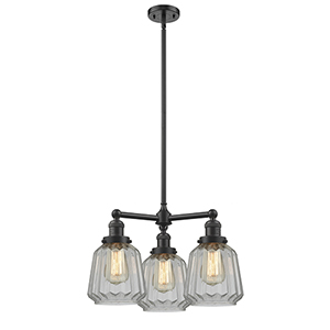 Chatham Oiled Rubbed Bronze Three-Light Chandelier with Clear Fluted Novelty Glass