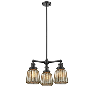 Chatham Oiled Rubbed Bronze Three-Light LED Chandelier with Mercury Fluted Novelty Glass