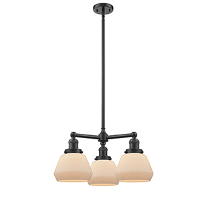 Fulton Oiled Rubbed Bronze Three-Light Chandelier with Matte White Cased Sphere Glass
