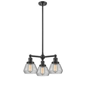 Fulton Oiled Rubbed Bronze Three-Light LED Chandelier with Clear Sphere Glass
