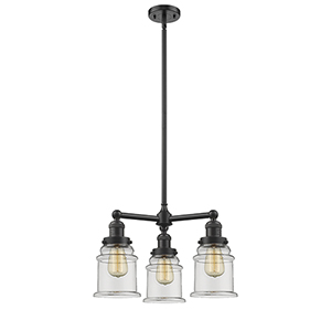 Canton Oiled Rubbed Bronze Three-Light LED Chandelier with Clear Bell Glass