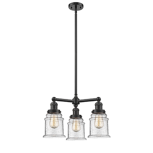 Canton Oiled Rubbed Bronze Three-Light LED Chandelier with Seedy Bell Glass