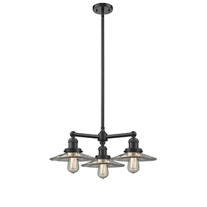 Halophane Oiled Rubbed Bronze Three-Light LED Chandelier with Halophane Cone Glass