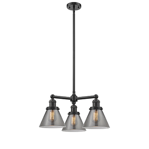 Large Cone Oiled Rubbed Bronze Three-Light LED Chandelier with Smoked Cone Glass