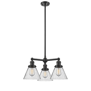 Large Cone Oiled Rubbed Bronze Three-Light LED Chandelier with Seedy Cone Glass
