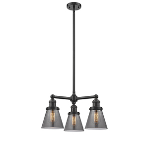 Small Cone Oiled Rubbed Bronze Three-Light LED Chandelier with Smoked Cone Glass