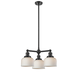 Large Bell Oiled Rubbed Bronze Three-Light Chandelier with Matte White Cased Dome Glass
