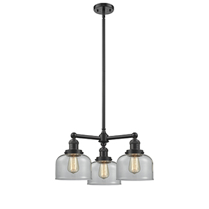 Large Bell Oiled Rubbed Bronze Three-Light LED Chandelier with Clear Dome Glass